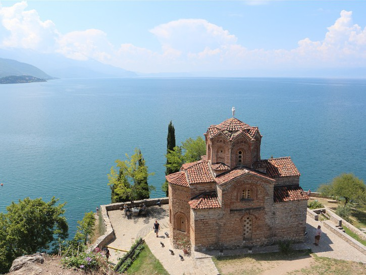 Church overlooking one of Macedonia's great lakes.