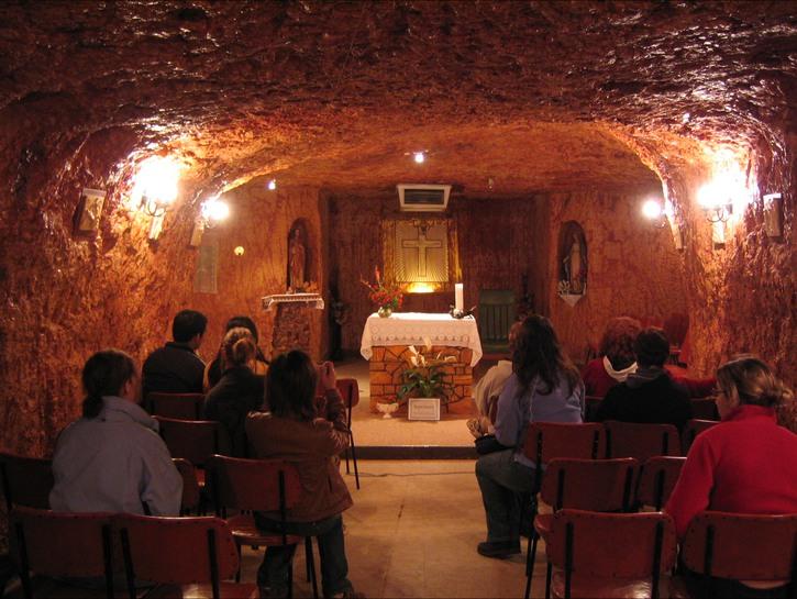 Church service in Coober Pedy, Australia, underground church