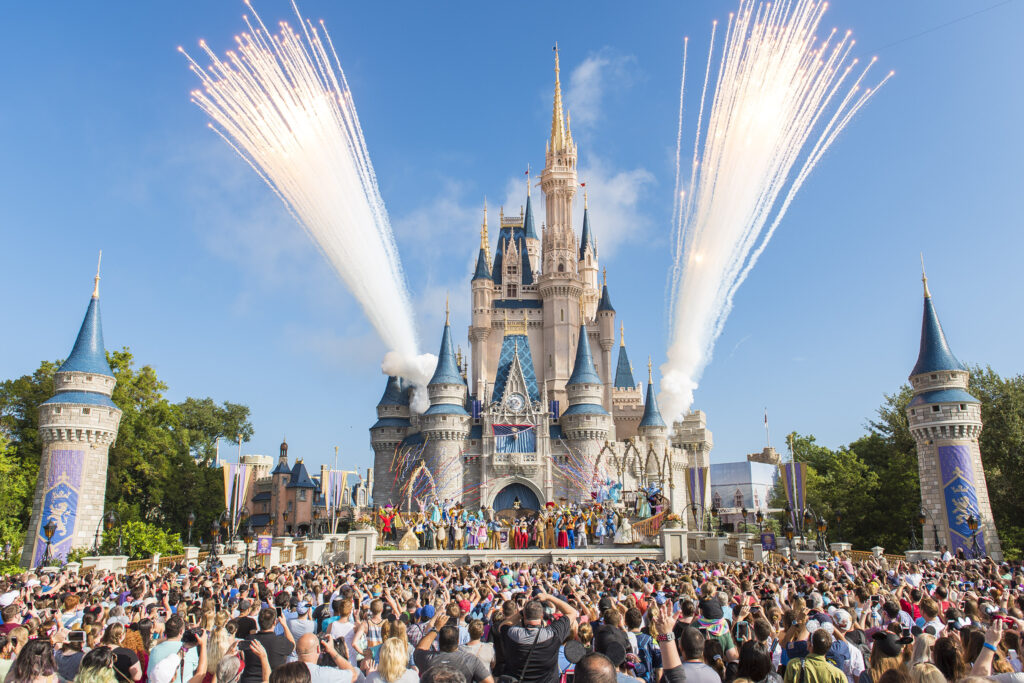 Cinderella's Castle during an anniversary event.