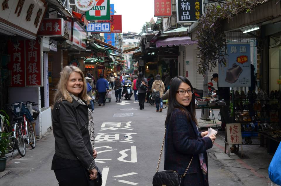 Cindy Barks and daughter-in-law, streets of Taipei.