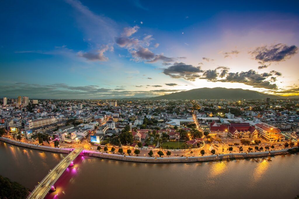 Cityscape of Chiang Mai at sunset.