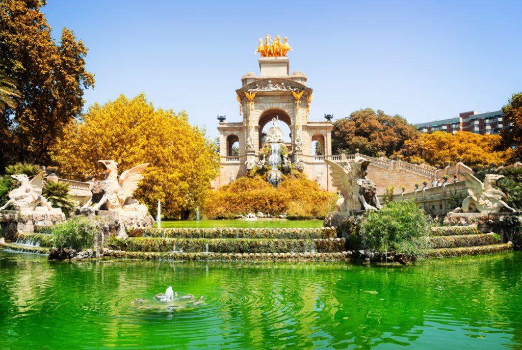 Ciutadella Park in Barcelona during the fall.