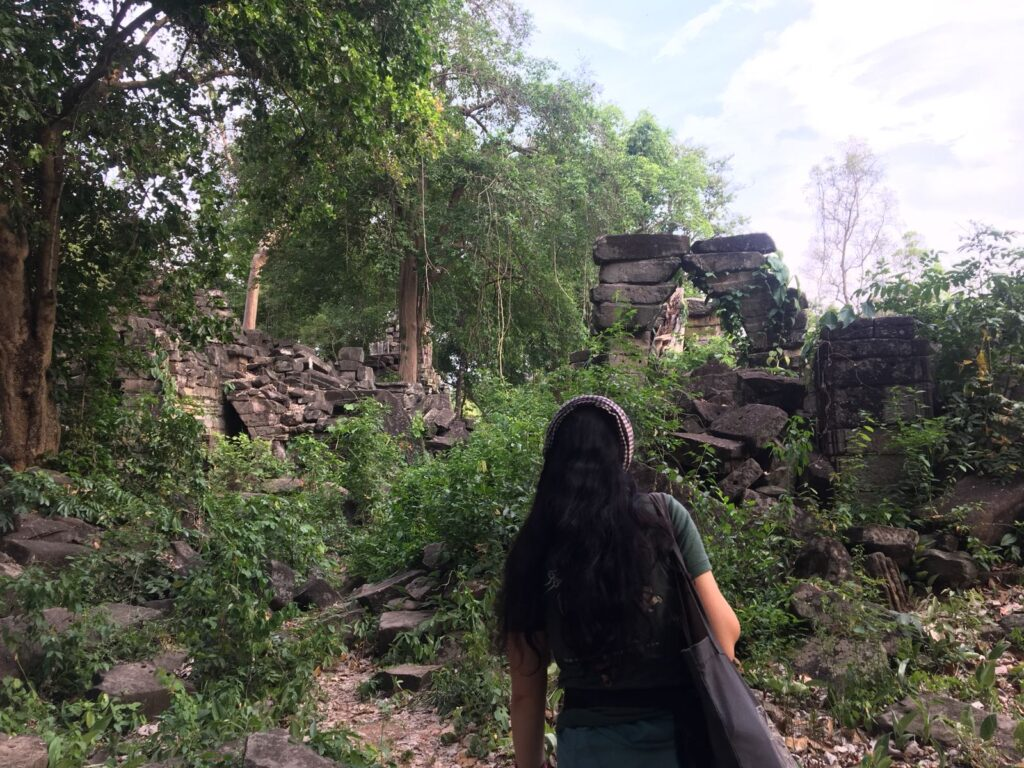 Claire at a temple in Cambodia.