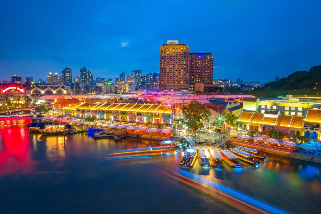 Clark Quay on the Singapore River.