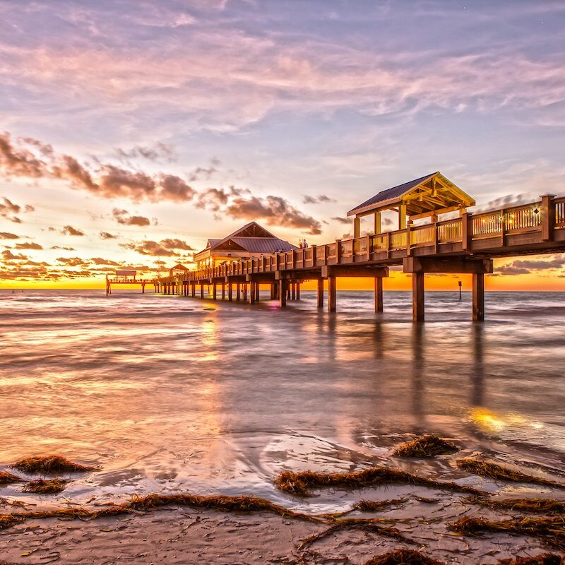 Clearwater Beach, Florida, at sunset.