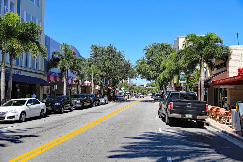 Clematis Street in West Palm Beach, Florida.