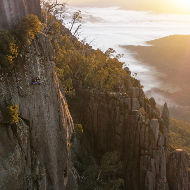 Cliff camping at Australia's Mount Buffalo National Park.