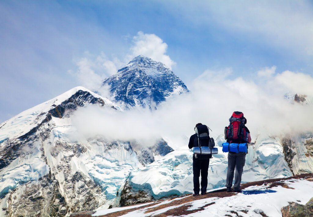 Climbers at the base camp of Mouth Everest.