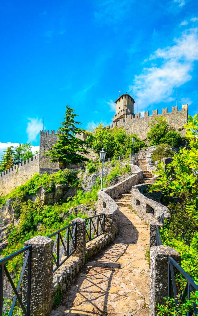 Climbing the Guaita Tower in San Marino.