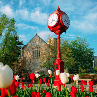 Clock and spring flowers of Indiana University in Bloomington.