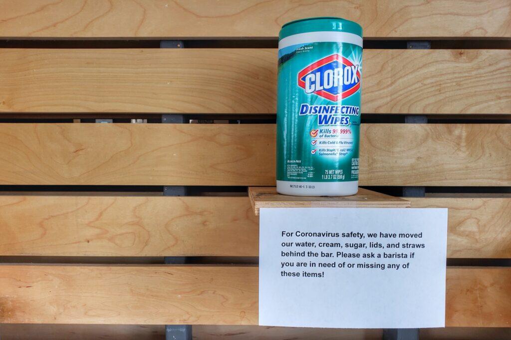 Clorox wipes in a cafe in California.