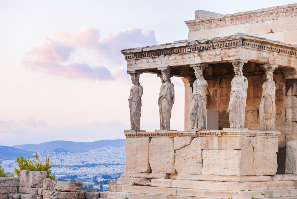 Close-up details of the Acropolis in Athens.