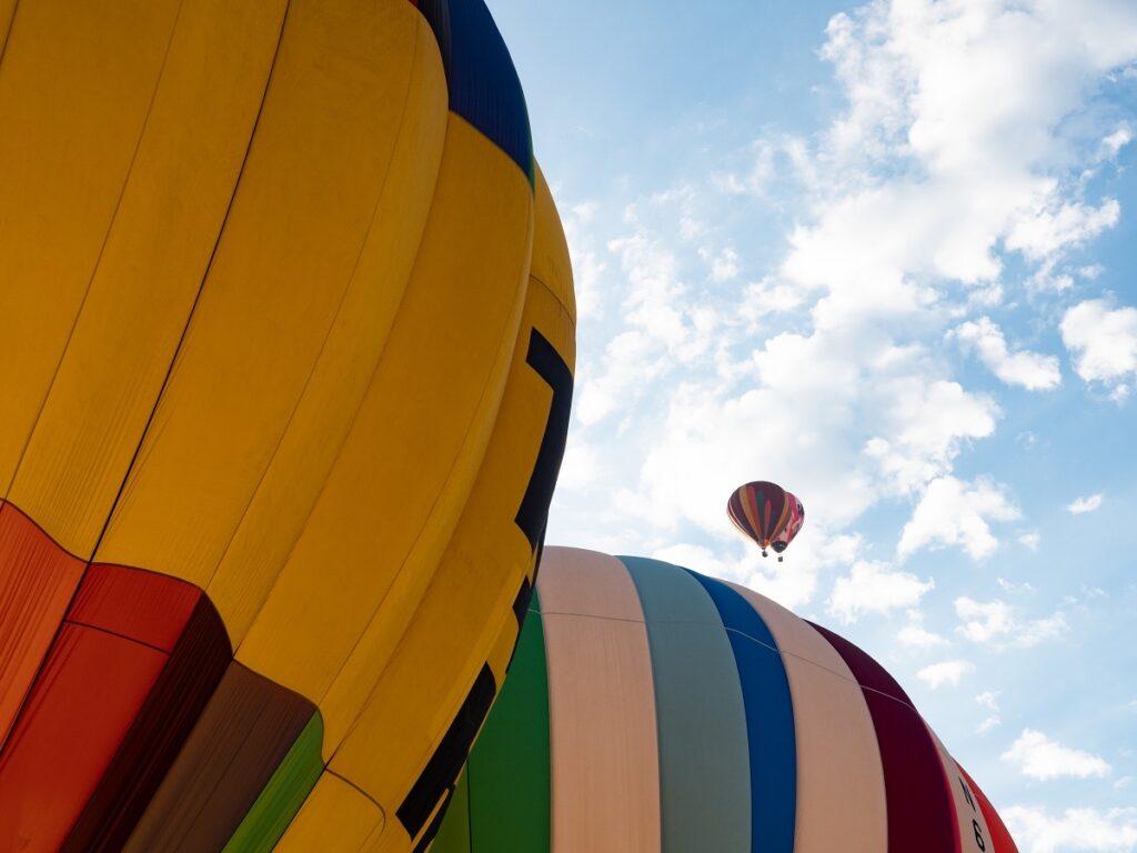 Close up of hot air balloons.