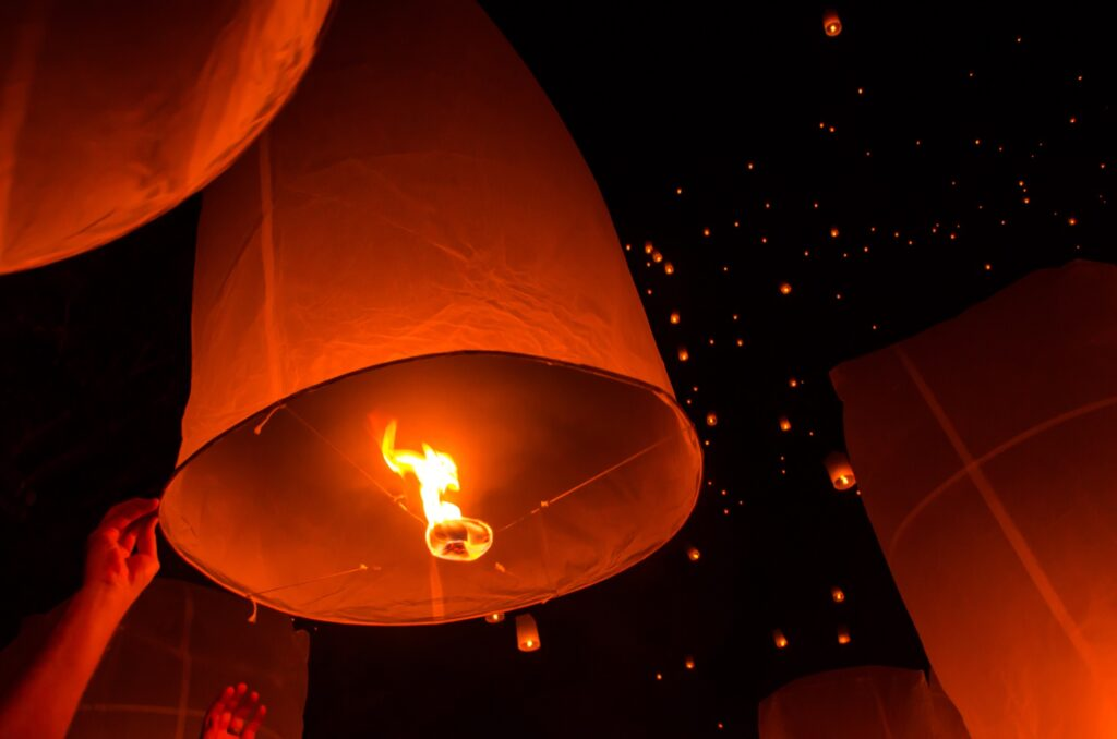 Close up of the Khom Loi paper lanterns.