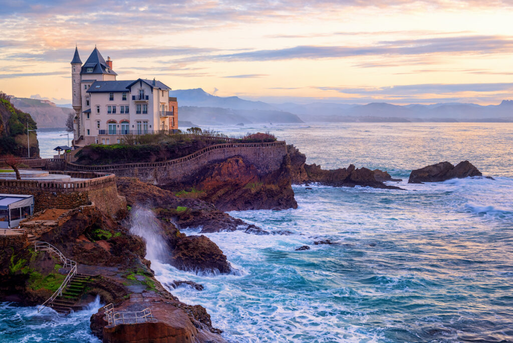 Coastline in Biarritz, France.