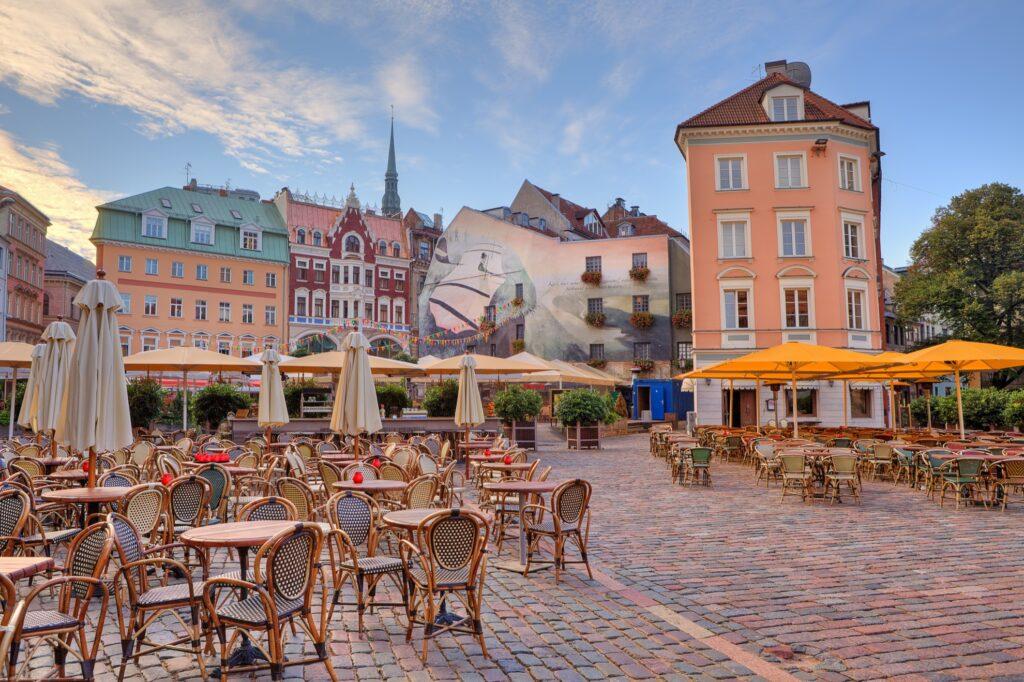 Cobbled city square in Riga, Latvia.