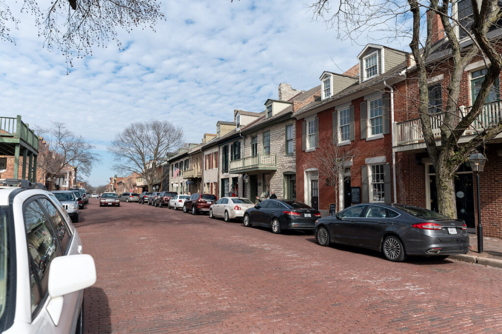 Cobblestone street in St. Charles.