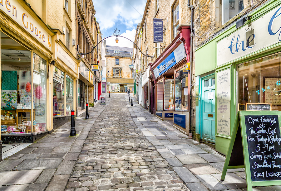 Cobblestone streets of Frome in Somerset, England.