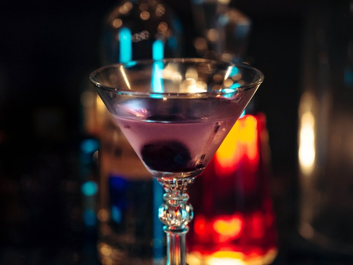 Cocktail sitting on a bar