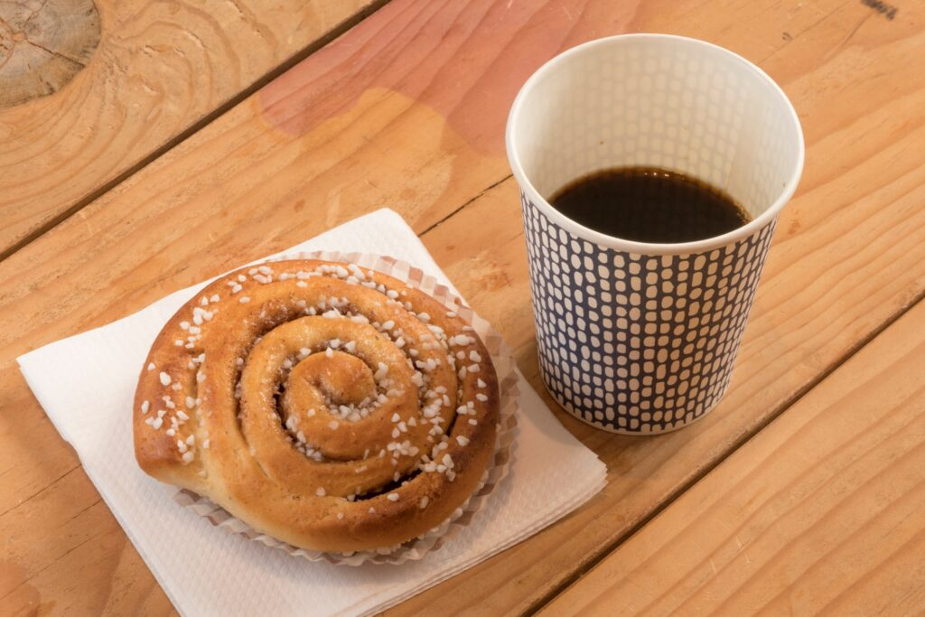 Coffee and a cinnamon bun in Stockholm.