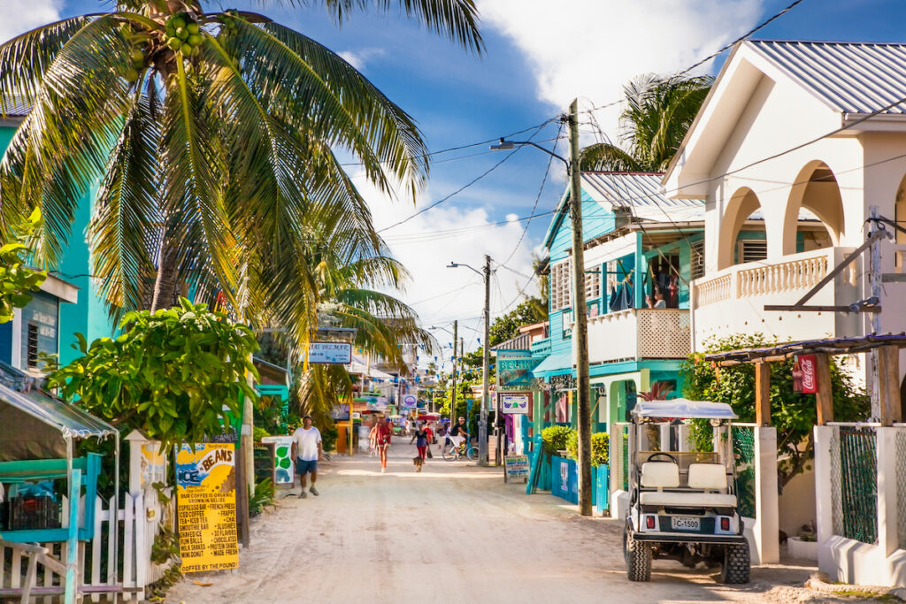 Colored buildings in Caye Caulker, Belize.