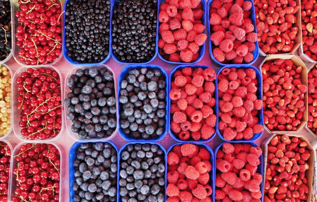 Colorful berries at the farmers' market.