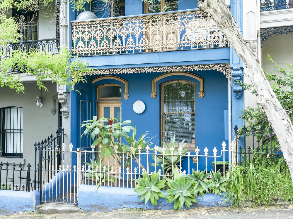 Colorful blue house in Paddington, Sydney.