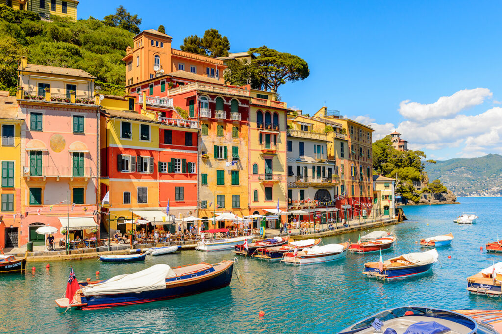 Colorful buildings and boats in Portofino, Italy.