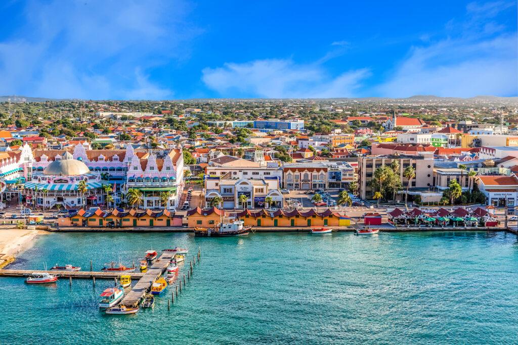 Colorful buildings and boats, Oranjestad, Aruba.