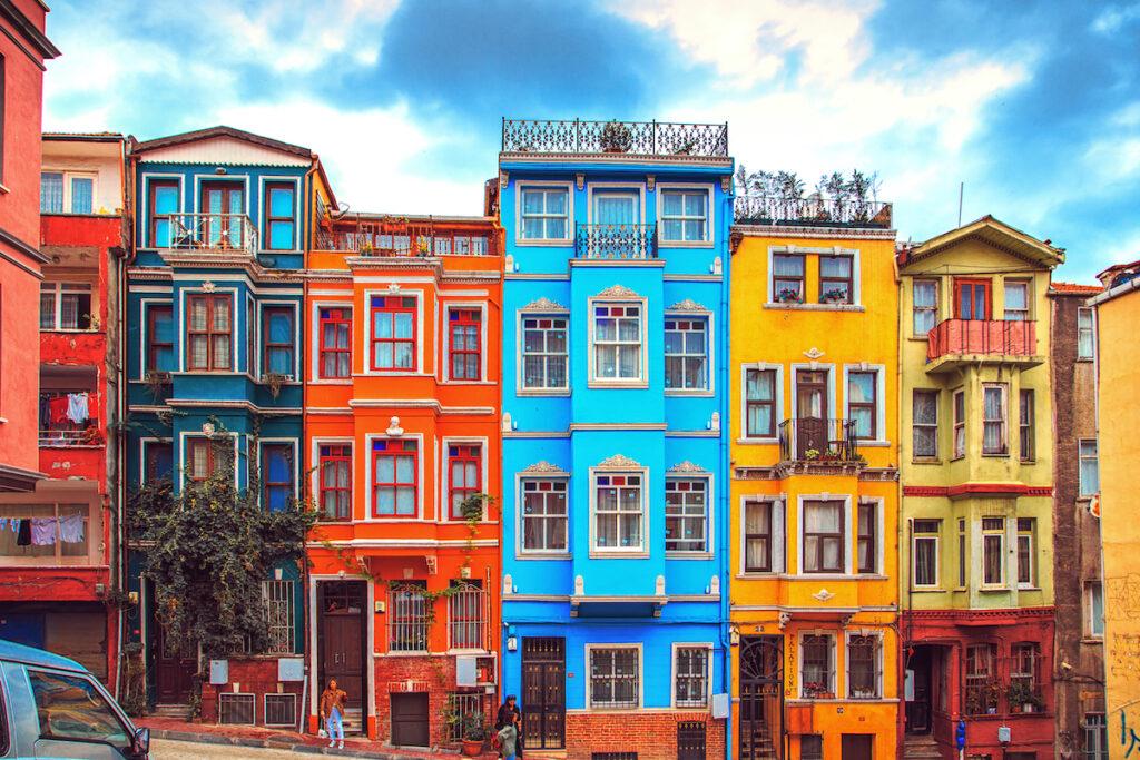 Colorful buildings in Balat, Istanbul, Turkey.