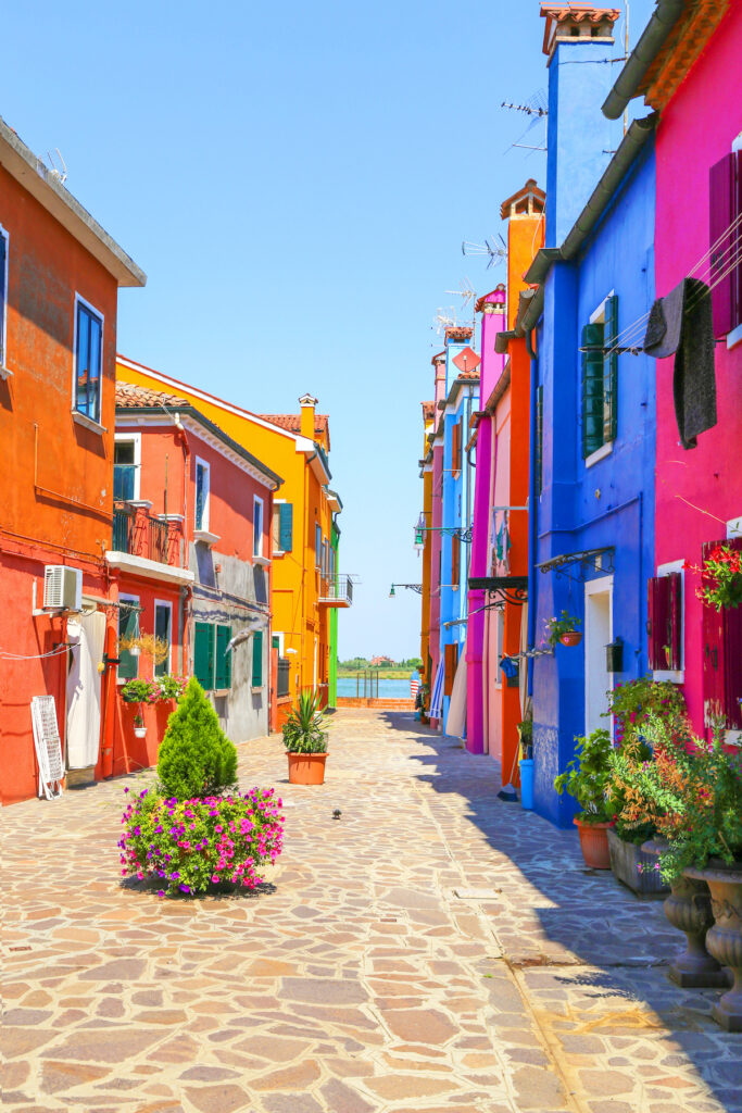 Colorful buildings in Burano, Italy.