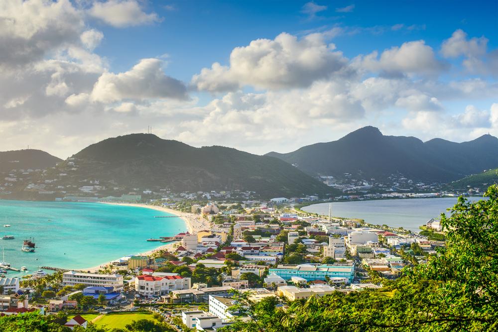 Colorful buildings in Phillipsburg, St. Maarten.