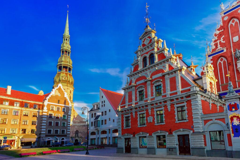 Colorful buildings in Riga, Latvia.