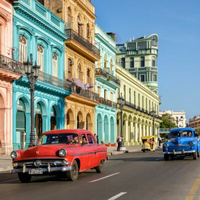 Colorful cars and buildings, Havana, Cuba.