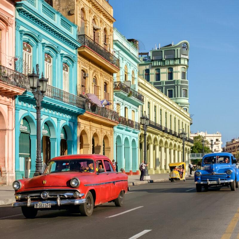 Colorful cars and buildings, Havana, Cuba.