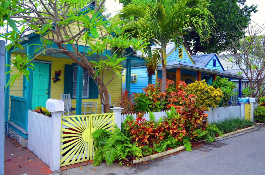 Colorful cottages in Key West, Florida.