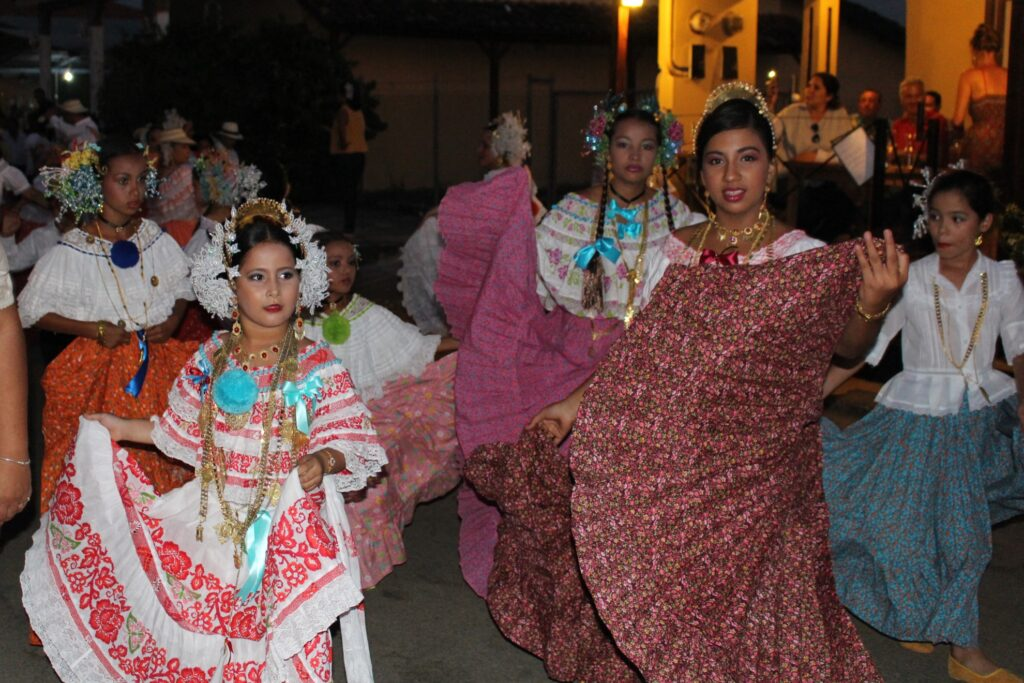 Colorful dresses during Panama's Carnival.