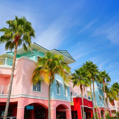 Colorful houses and palm trees in Fort Myers, Florida.