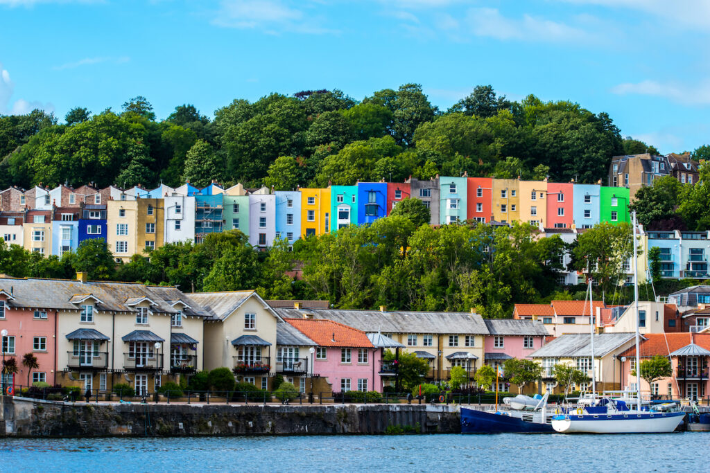 Colorful houses in Bristol, England.