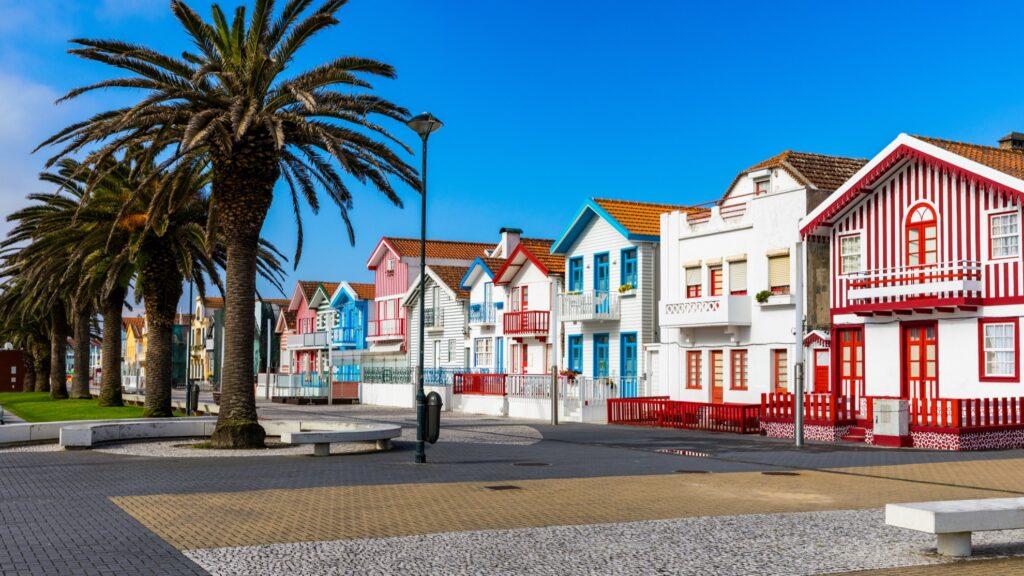 Colorful houses in Costa Nova.
