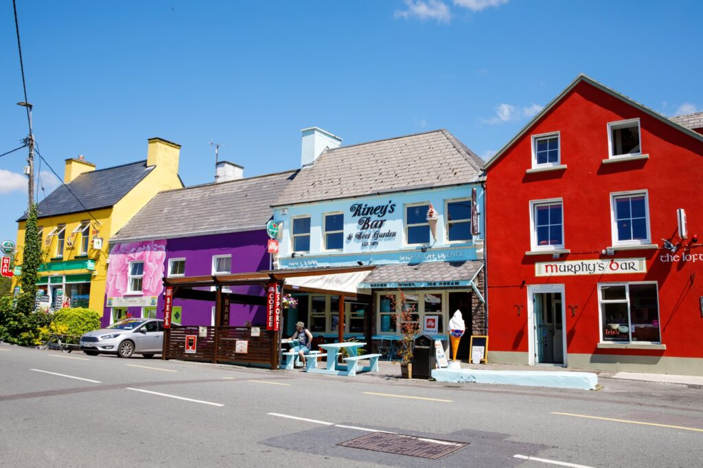 Colorful houses in Eyeries, Ireland.