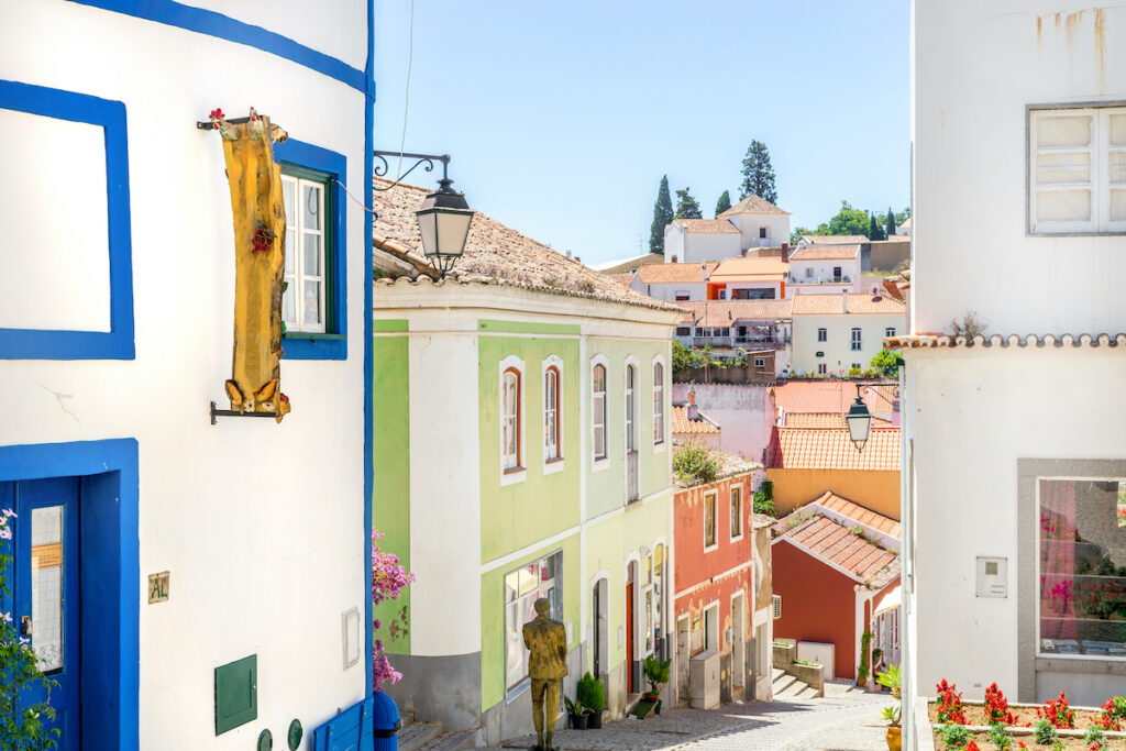 Colorful houses in Monchique, Portugal.