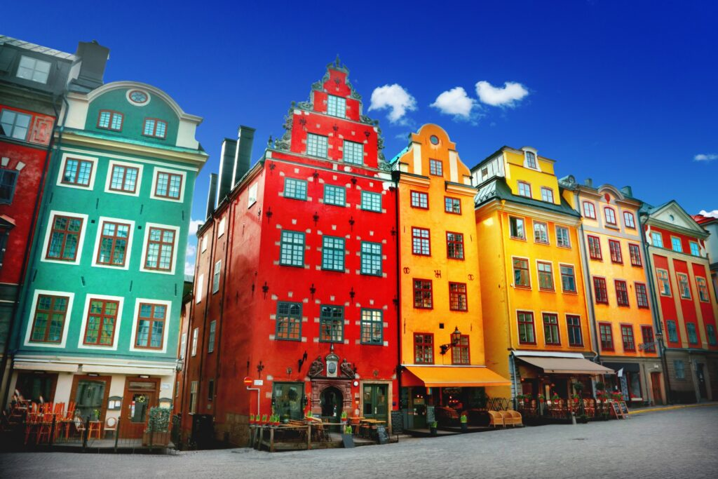 Colorful houses in Stockholm's Gamla Stan.