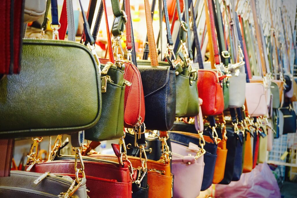 Colorful leather bags for sale in Bangkok.