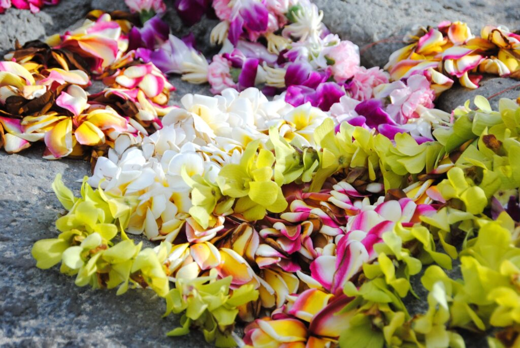Colorful leis on a rock in Hawaii.