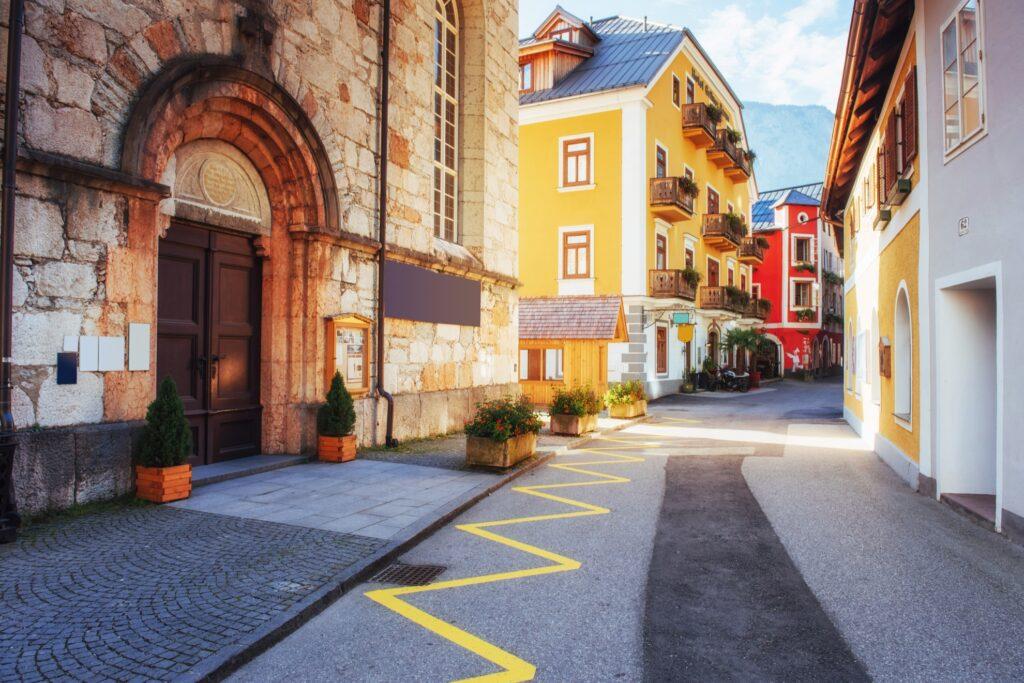 Colorful streets of Hallstatt, Austria.