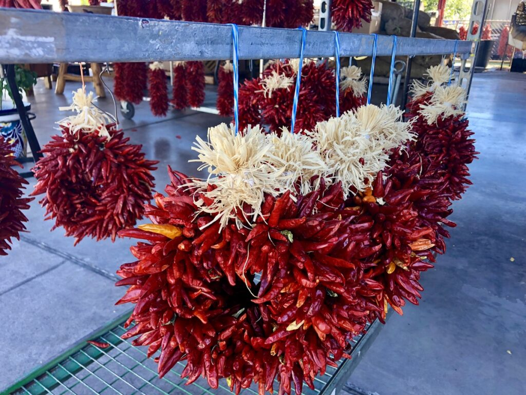 Colorful wreaths made of chiles.