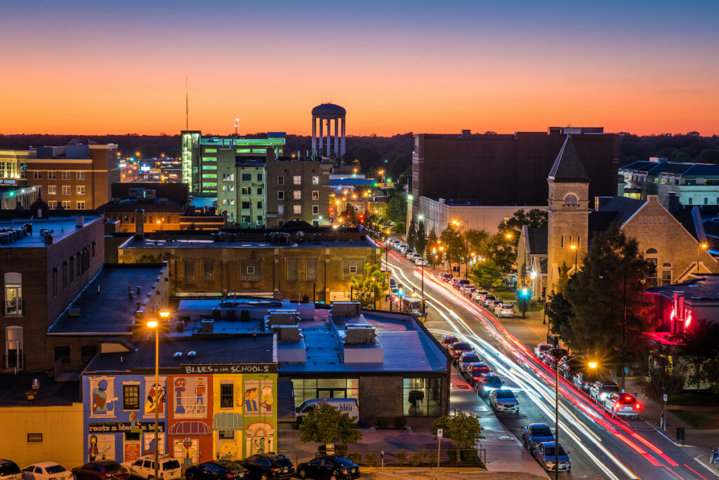 Columbia, Missouri, at night time.