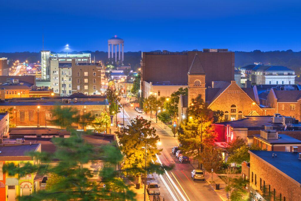 Columbia, Missouri, at night.
