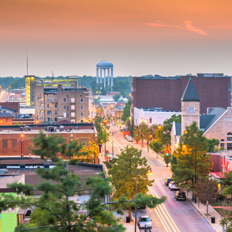 Columbia, Missouri, at sunset.